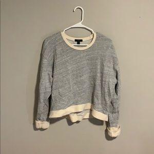 J. Crew Gray/Off White Long Sleeve Sweater- XL